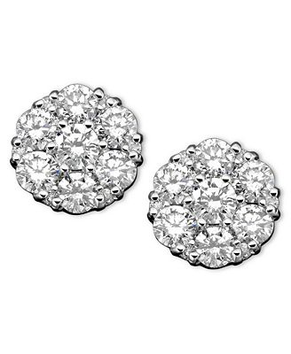 diamond cluster earrings in 14k white gold 2 ct t w earrings