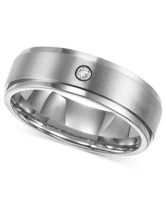 Triton Menu0027s Titanium Ring, 7mm Diamond Accent Wedding Band
