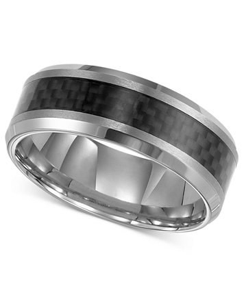 Image 1 Of Triton Mens Tungsten Carbide Ring Black Carbon Fiber Stripe Wedding Band