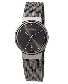 Women's Charcoal Mesh Stainless Steel Bracelet Watch