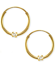 Children S Cubic Zirconia Accent Endless Hoop Earrings In 14k Yellow Gold 2mm