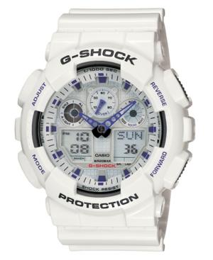 G-Shock Men's Analog Digital White Resin Strap Watch GA100A-7A