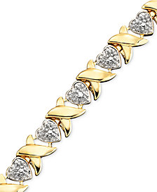 "18k Gold over Sterling Silver Diamond Accent Heart Link 6.5""-9"" Bracelets"