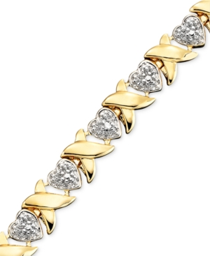 Victoria Townsend 18k Gold over Sterling Silver Bracelet, Diamond Accent Heart Link 7-1/4