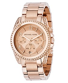 Women's Chronograph Blair Rose Gold-Tone Stainless Steel Bracelet Watch 41mm MK5263