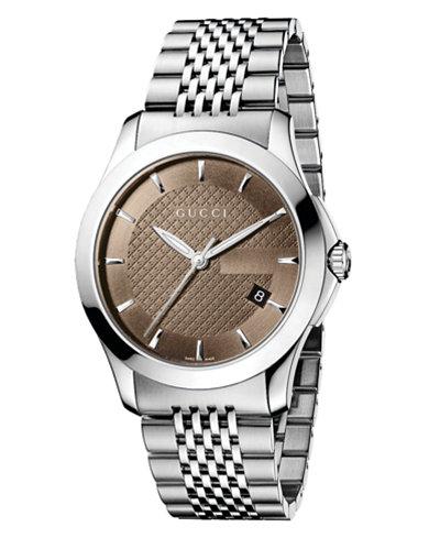 Gucci Watch, Men's Swiss Stainless Steel Bracelet 38mm YA126406
