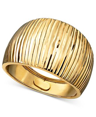 14k Gold Ring Diamond Cut Cigar Band Rings Jewelry & Watches