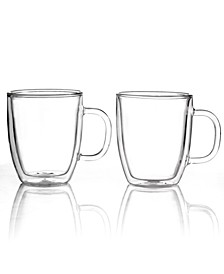 Bistro Set of 2 Thermal Double Walled 15 Oz. Glass Mugs