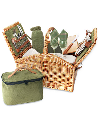 Picnic Time Somerset Green Picnic Basket Outdoor Dining