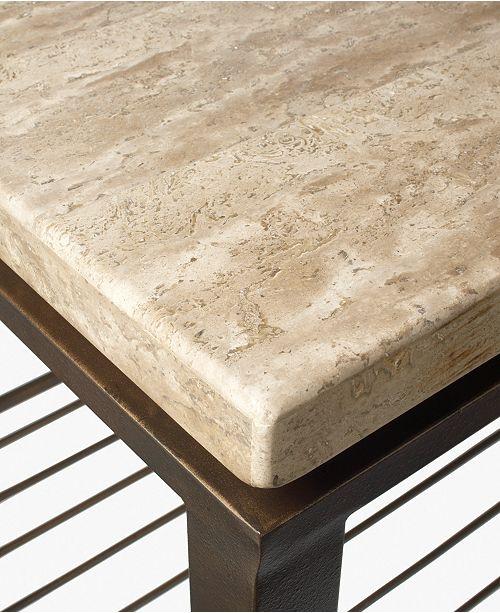 Furniture Tempo Travertine Top Rectangular Coffee Table