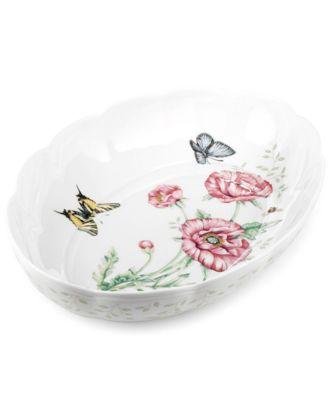 Butterfly Meadow Scalloped Oval Baker