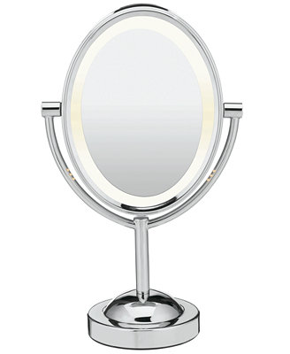 bathroom makeup mirrors conair oval polished chrome sided lighted makeup 10993