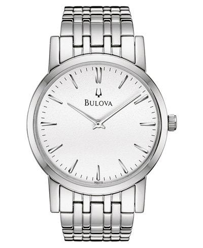 bulova men s stainless steel bracelet watch 38mm 96a115 watches bulova men s stainless steel bracelet watch 38mm 96a115