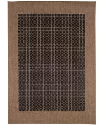 "CLOSEOUT! Area Rug, Indoor/Outdoor Recife Collection Checkered Field Black-Cocoa 3' 9"" x 5 '5"""