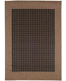 "CLOSEOUT! Couristan Area Rug, Indoor/Outdoor Recife Collection Checkered Field Black-Cocoa 2' 3"" x 7' 10"" Runner"