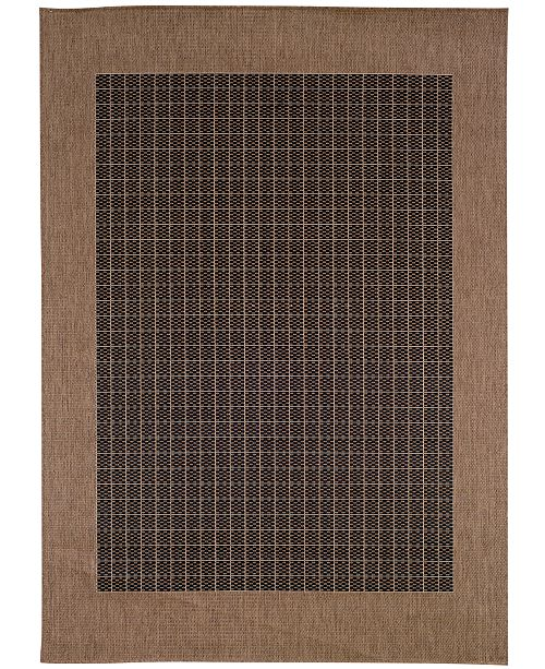 "Couristan CLOSEOUT! Area Rug, Indoor/Outdoor Recife Collection Checkered Field Black-Cocoa 7' 6"" x 10' 9"""
