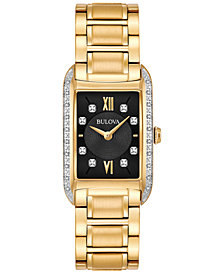 Bulova Women's Diamond Accent Gold-Tone Stainless Steel Bracelet Watch 22x35mm 98R228