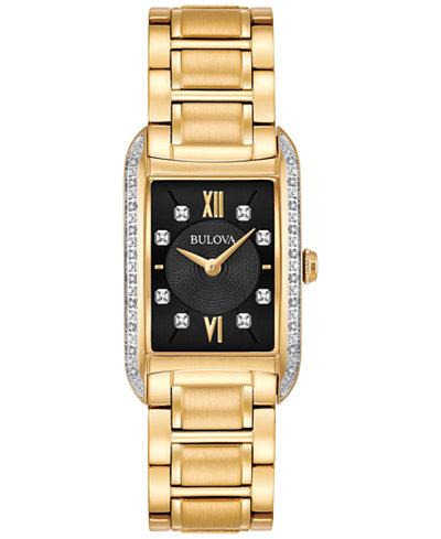 Bulova Women's Diamond Accent Gold-Tone Stainless Steel Bracelet Watch 22x35mm 98R228