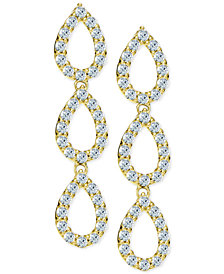 Giani Bernini Cubic Zirconia Pavé Triple Drop Earrings in 18k Gold-Plated Sterling Silver, Created for Macy's