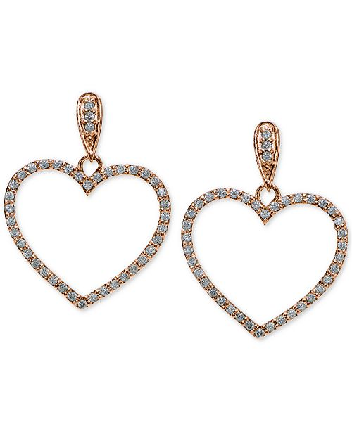 Giani Bernini Cubic Zirconia Pavé Heart Drop Earrings in 18k Rose Gold-Plated and Gold-Plated Sterling Silver, Created for Macy's