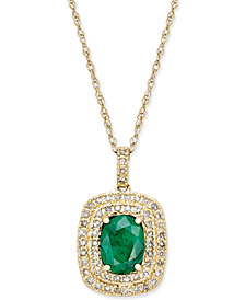 Emerald (1-1/10 ct. t.w.) and Diamond (1/3 ct. t.w.) Pendant Necklace in 14k Gold