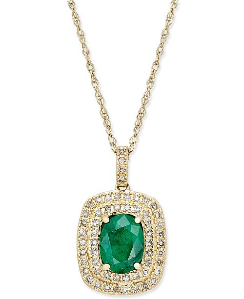 Macy's Emerald (1-1/10 ct. t.w.) and Diamond (1/3 ct. t.w.) Pendant Necklace in 14k Gold