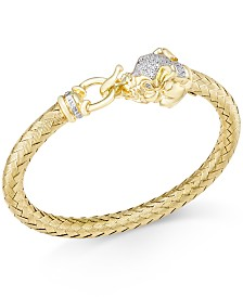 Diamond (1/4 ct. t.w.) and Emerald Accent Elephant Mesh Bangle Bracelet in 14k Gold-Plated Sterling Silver