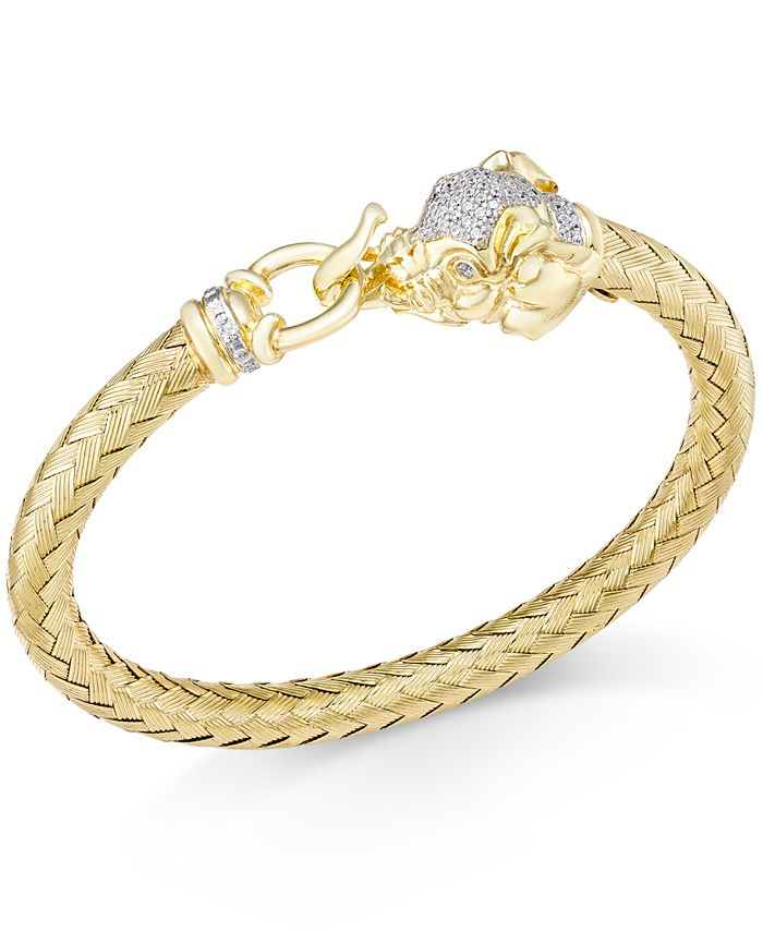 Macy's - Diamond (1/4 ct. t.w.) and Emerald Accent Elephant Mesh Bangle Bracelet in 14k Gold-Plated Sterling Silver