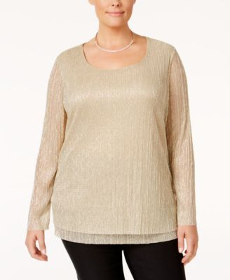 JM Collection Plus Size Metallic Crinkled Top, Only at Macy's