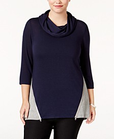 Plus Size High-Low Colorblocked Top