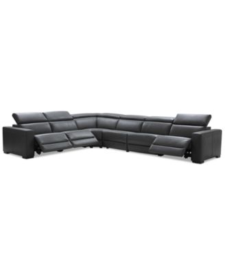 "Nevio 6-pc Leather ""L"" Shaped Sectional Sofa with 3 Power Recliners and Articulating Headrests, Created for Macy's"