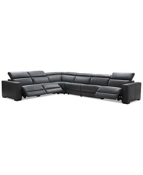Nevio 6 Pc Leather L Shaped Sectional Sofa With 3 Recliners And Articulating Headrests Created For Macy S