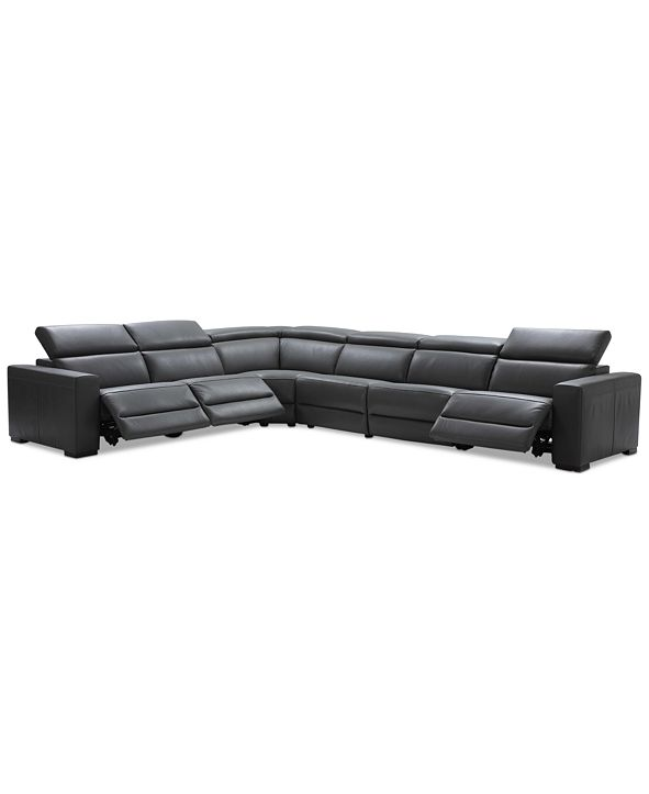 "Furniture Nevio 6-pc Leather ""L"" Shaped Sectional Sofa with 3 Power Recliners and Articulating Headrests, Created for Macy's"