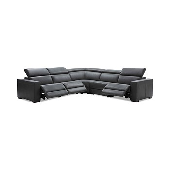 5-Piece Nevio Leather Sectional Sofa with 3 Power Recliners