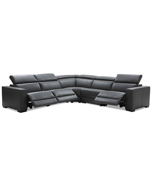 Nevio 5-pc Leather L Shaped Sectional Sofa with 3 Power Recliners and  Articulating Headrests, Created for Macy\'s