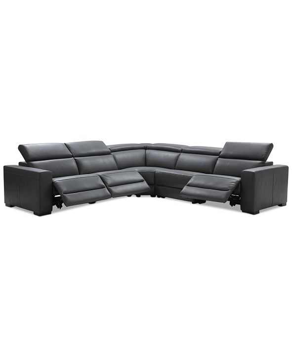 """Furniture Nevio 5-pc Leather """"L"""" Shaped Sectional Sofa with 3 Power Recliners and Articulating Headrests, Created for Macy's"""