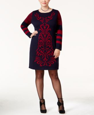 NY Collection Plus Size Jacquard Sweater Dress