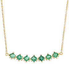 RARE Featuring GEMFIELDS Certified Emerald Linear Bar Statement Necklace (1 ct. t.w.) in 14k Gold, Created for Macy's