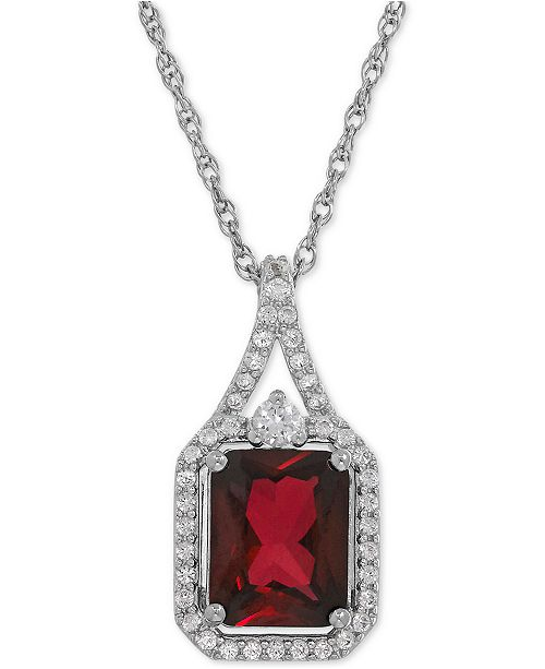 Macy's Lab-Created Ruby (3-1/10 ct. t.w.) and White Sapphire (1/4 ct. t.w.) Pendant Necklace in Sterling Silver