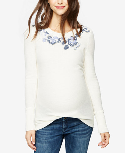 A Pea In The Pod Maternity Embroidered Sweater