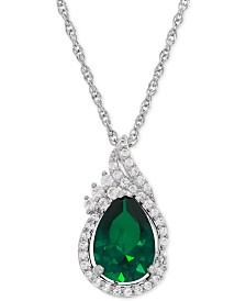 Lab-Created Emerald (1-3/4 ct. t.w.) and White Sapphire (1/4 ct. t.w.) Teardrop Pendant Necklace in Sterling Silver