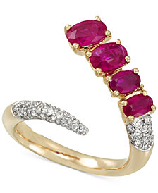 RARE Featuring GEMFIELDS Certified Ruby (1-5/8 ct. t.w.) and Diamond (3/8 ct. t.w.) Pavé Bypass Ring in 14k Gold, Created for Macy's