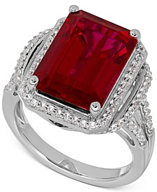 Lab-Created Ruby (10-1/5 ct. t.w.) White Sapphire (3/8 ct. t.w.) Ring in Sterling Silver