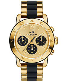 COACH Women's Chronograph Legacy Sport Gold-Tone Stainless Steel and Black Silicone Bracelet Watch 36mm 14502534