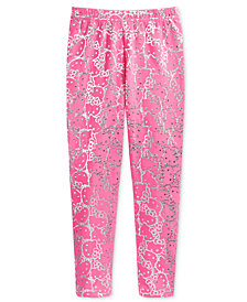 Hello Kitty Metallic-Print Leggings, Little Girls