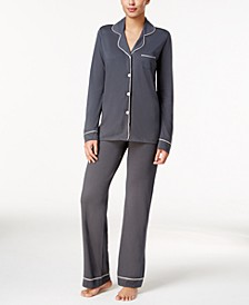 Bella Satin-Trim Long-Sleeve Pajama Set AMORE9641, Online Only