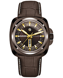 LIMITED EDITION Rado Men's Swiss Automatic Hyperchrome Brown Leather Strap Watch 46mm R32170305, Limited Edition