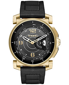 Diesel Men's Black Leather Strap Hybrid Smart Watch 47x58mm DZT1004