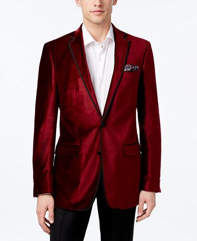 Tallia Men's Slim-Fit Red Velvet Sport Coat