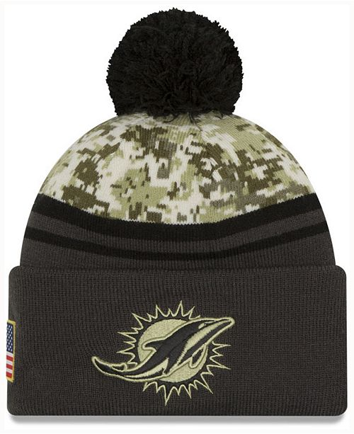 ... Hat  New Era Men s Miami Dolphins Salute to Service Official Pom Knit  ... adf908c3d